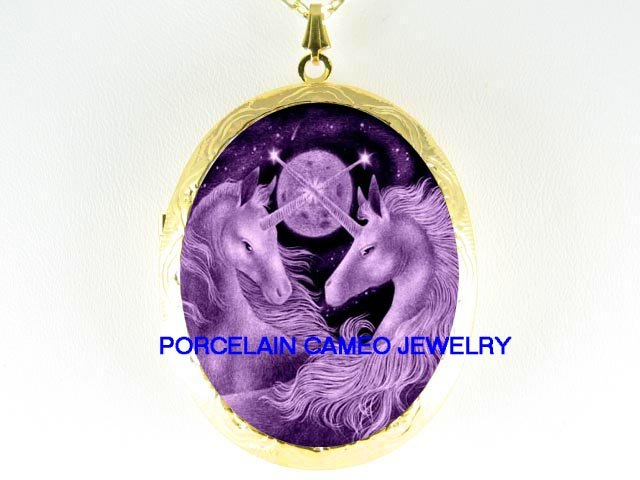 2 PURPLE UNICORN HORSE PORCELAIN CAMEO LOCKET  NECKLACE