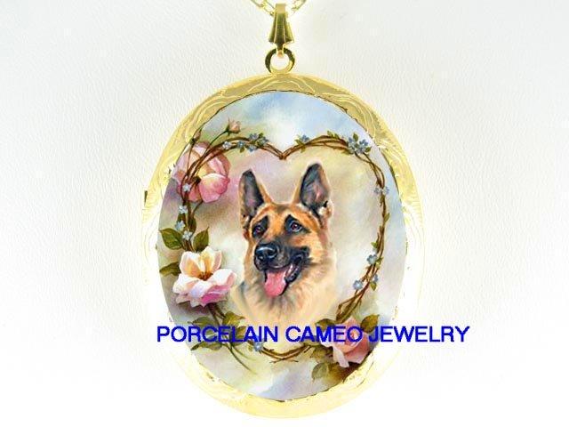 GERMAN SHEPHERD DOG ROSE HEART FORGET ME NOT *  CAMEO PORCELAIN LOCKET NECKLACE