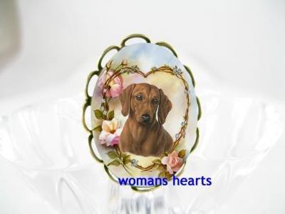 DACHSHUND DOG FORGETMENOT ROSE CAMEO PORCELAIN RING 5-9
