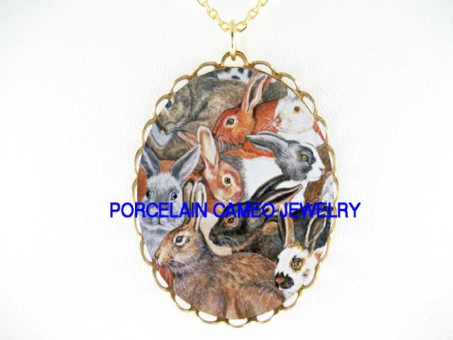 RABBIT BUNNY COLLAGE PORCELAIN CAMEO PENDANT NECKLACE