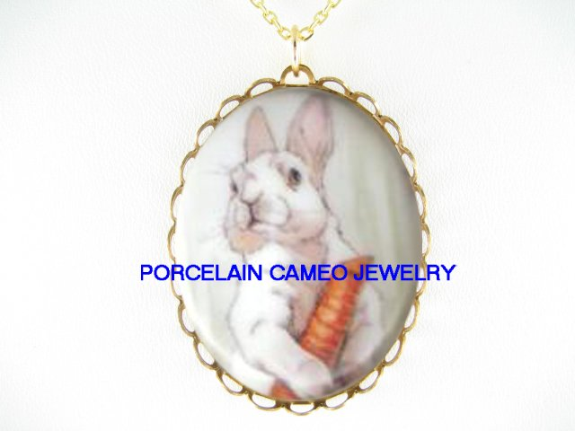 WHITE RABBIT BUNNY EATS CARROT * CAMEO PORCELAIN NECKLACE