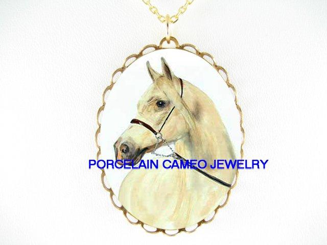 WHITE STALLION HORSE CAMEO PORCELAIN PENDANT NECKLACE