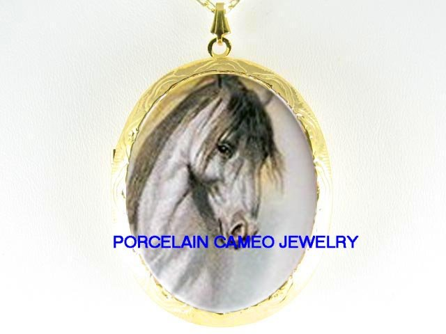 GREY STALLION HORSE  *  CAMEO PORCELAIN LOCKET NECKLACE