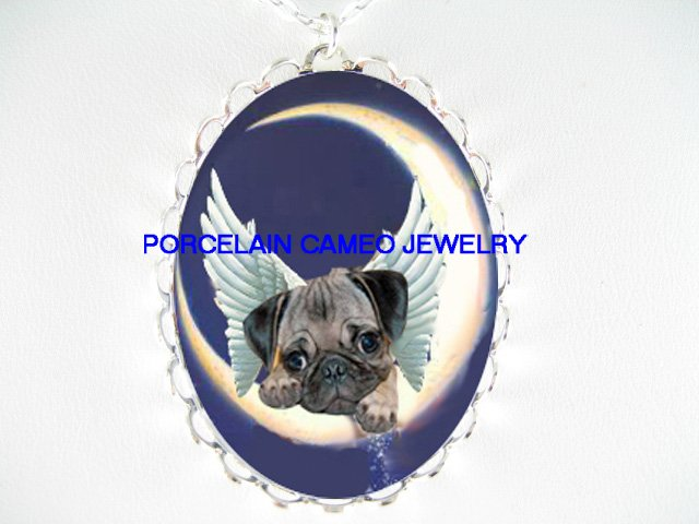 ANGEL PUG DOG MOON DUST STARS CAMEO PORCELAIN NECKLACE