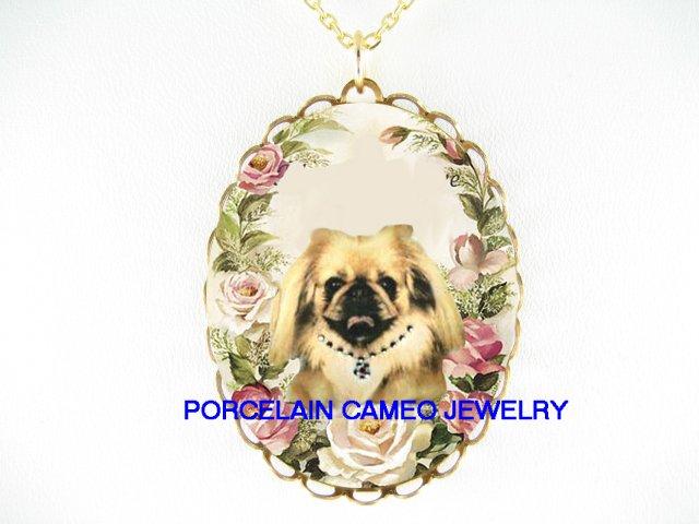 JEWELED SMILING PEKINGESE DOG ROSE  * CAMEO PORCELAIN NECKLACE