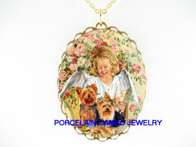 SMILING ANGEL WITH 2 YORKSHIRE TERRIER DOG ROSE* CAMEO PORCELAIN NECKLACE