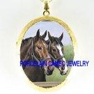 2 BROWN STALLION HORSE PORCELAIN CAMEO LOCKET NECKLACE