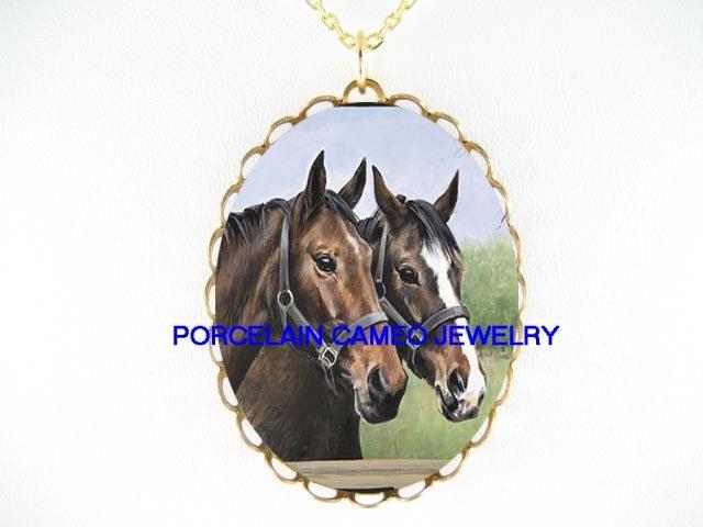 2 ARABIAN BROWN STALLION HORSE PORCELAIN CAMEO NECKLACE