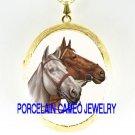 2 BROWN WHITE STALLION HORSE PORCELAIN CAMEO LOCKET NK