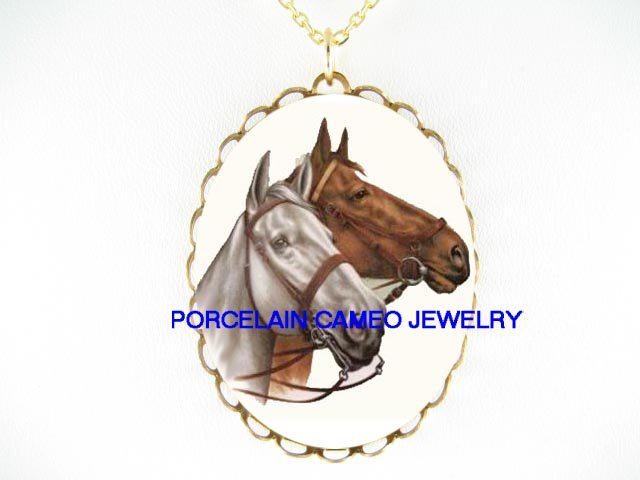 2 BROWN WHITE STALLION HORSE PORCELAIN CAMEO NECKLACE