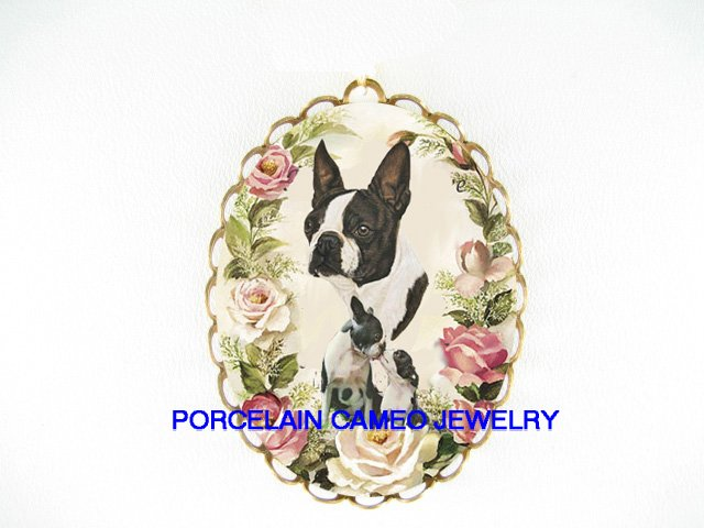 BOSTON TERRIER DOG MOM KISS PUPPY ROSE   *  CAMEO PORCELAIN PENDANT/PIN BROOCH