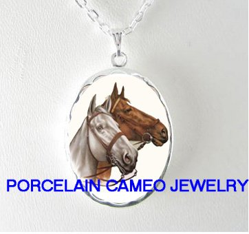 2 BROWN WHITE STALLION HORSE PORCELAIN CAMEO SMALL LOCKET