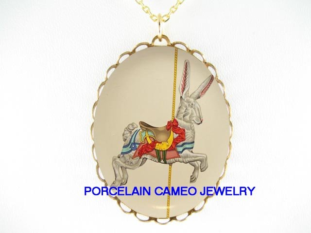 RABBIT BUNNY CAROUSEL HORSE CAMEO PORCELAIN NECKLACE