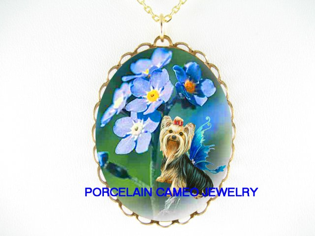 BUTTERFLY YORKSHIRE FAIRY DOG FORGETMENOT NECKLACE