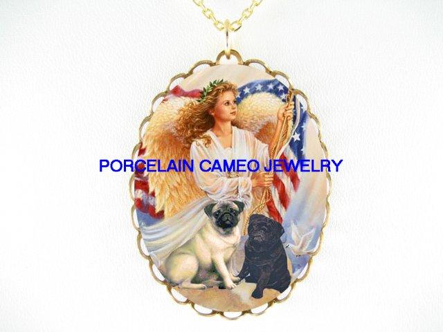 ANGEL PROUD 2 PUG DOG AMERICAN FLAG PORCELAIN NECKLACE