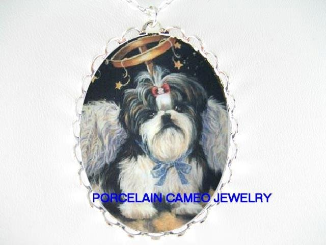 ANGEL WING SHIH TZU DOG CAMEO PORCELAIN NECKLACE