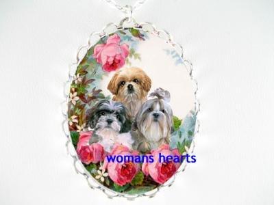 3 SHIH TZU PUPPY DOG  COLLAGE ROSE PORCELAIN CAMEO NECKLACE