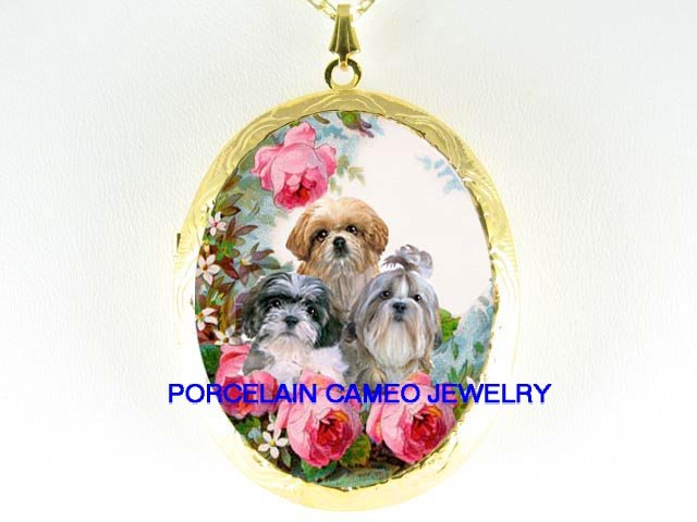 3 SHIH TZU PUPPY DOG COLLAGE ROSE CAMEO LOCKET NECKLACE