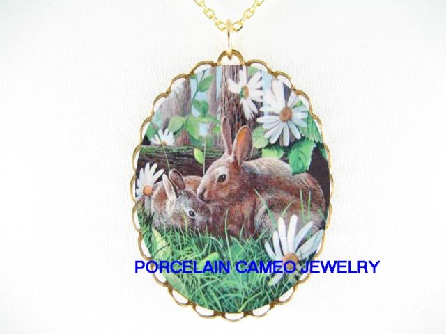 RABBIT BUNNY MOM KISS BABY PORCELAIN CAMEO NECKLACE