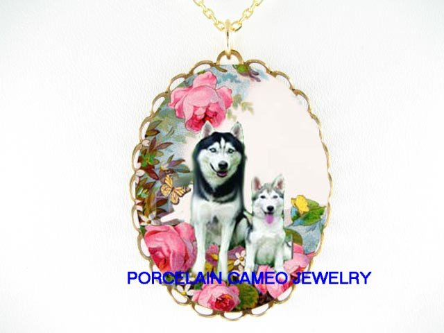 2 SIBERIAN HUSKY DOG MOM PUPPY ROSE BUTTERFLY NECKLACE