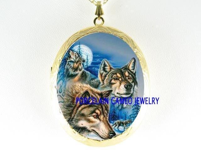 3 GREY WOLF HOWLING MOON CAMEO PORCELAIN LOCKET NECKLAC