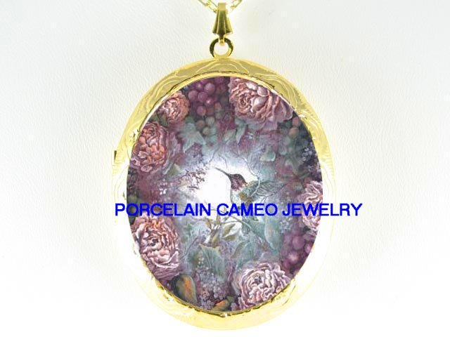 HUMMINGBIRD WITH PEONY PORCELAIN CAMEO LOCKET NECKLACE