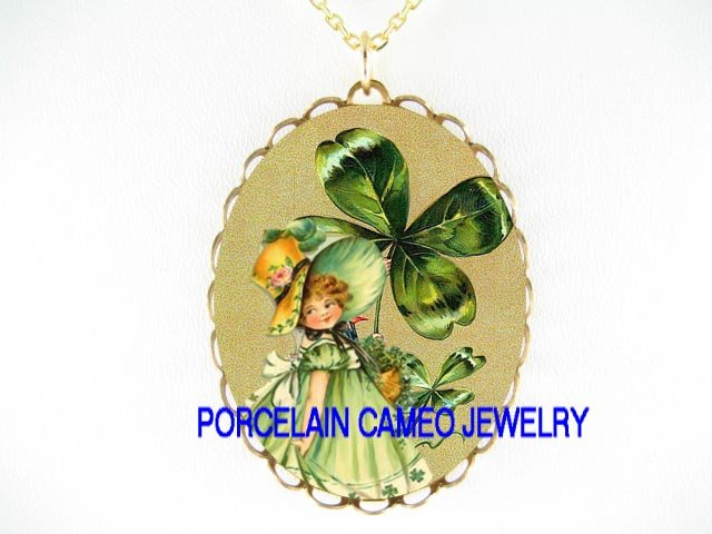 VICTORIAN IRISH SHAMROCK GIRL * CAMEO PORCELAIN NECKLACE
