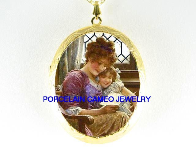 VICTORIAN MOTHER BABY DAUGHTER READING BOOK   *  CAMEO PORCELAIN LOCKET NECKLACE