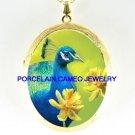 PEACOCK BIRD FLOWER  *  CAMEO PORCELAIN LOCKET NECKLACE