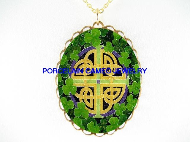 IRISH SHAMROCK CELTIC KNOT PORCELAIN CAMEO NECKLACE
