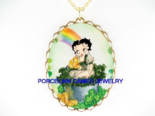 IRISH SHAMROCK BETTY BOOP ST PATRICK RAINBOW * CAMEO PORCELAIN NECKLACE