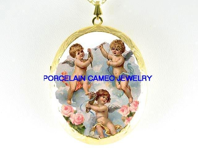 3 VICTORIAN ANGEL CHERUB ROSE  *  CAMEO PORCELAIN LOCKET NECKLACE