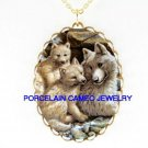 3 CUDDLING WOLF FAMILY   * CAMEO PORCELAIN NECKLACE
