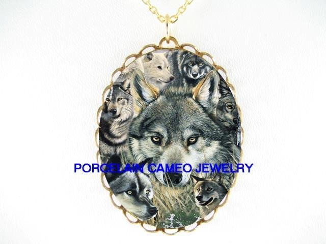 GREY WOLF WOLVES COLLAGE CAMEO PORCELAIN NECKLACE