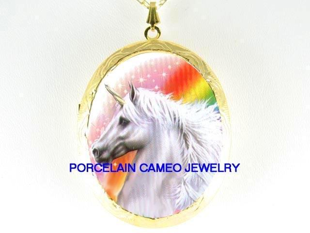 WHITE UNICORN HORSE RAINBOW CAMEO PORCELAIN LOCKET