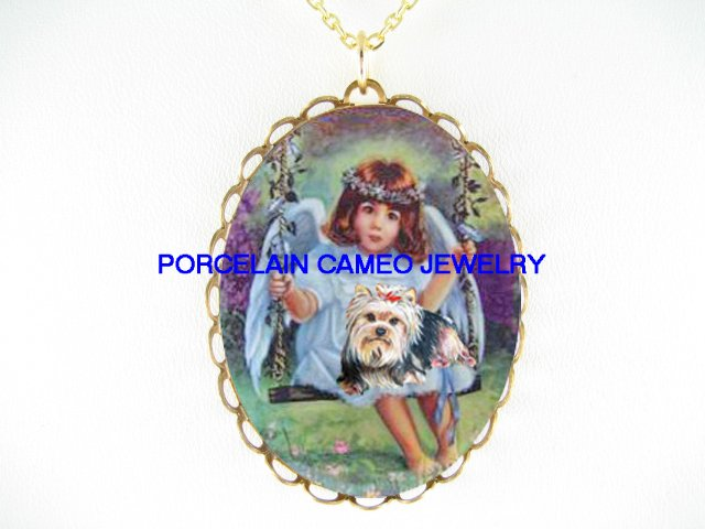 YORKSHIRE DOG WITH ANGEL SWING PORCELAIN CAMEO NECKLACE