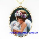 PANSY ANGEL HOLDING RABBIT  * CAMEO PORCELAIN NECKLACE