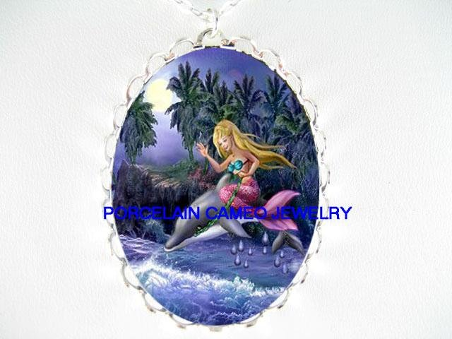 MERMAID RIDING DOLPHIN PORCELAIN CAMEO PENDANT NECKLACE