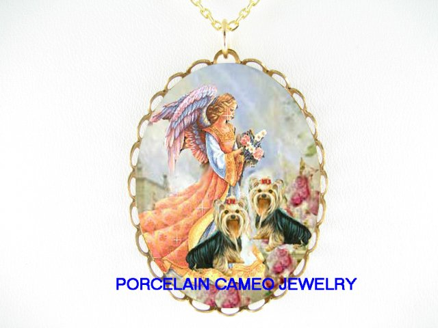 YORKSHIRE TERRIER DOG ANGEL ROSE PORCELAIN NECKLACE