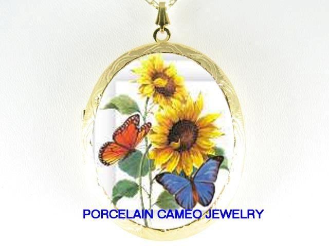 2 BUTTERFLY SUNFLOWER CAMEO PORCELAIN LOCKET NECKLACE