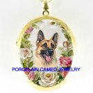 GERMAN SHEPHERD DOG ROSE PORCELAIN CAMEO LOCKET NECKLACE