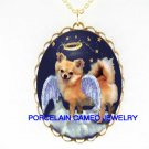 CHIHUAHUA DOG ANGEL CHERUB WITH HALO PORCELAIN NECKLACE
