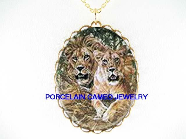 LION AND LIONESS COUPLE* CAMEO PORCELAIN NECKLACE