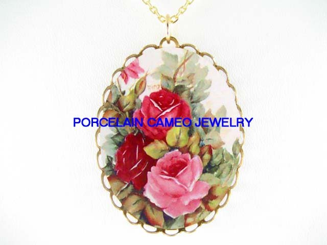 3 RED AND PINK FRENCH ROSE* CAMEO PORCELAIN NECKLACE