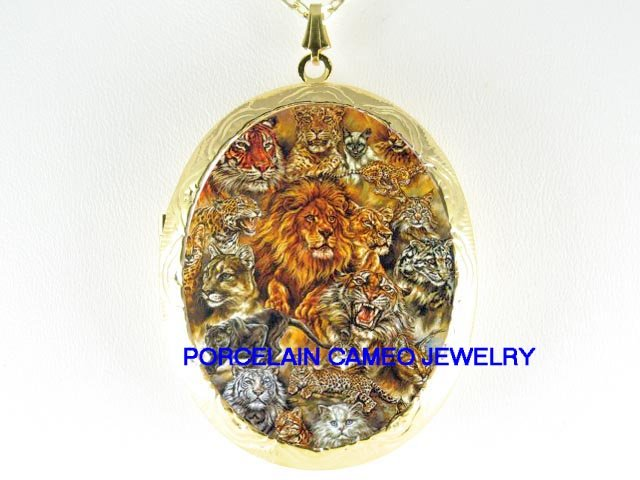 LION LEOPARD WHITE TIGER CHEETAH WILD CAT CAMEO LOCKET