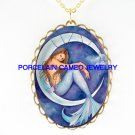 MERMAID SIT ON CRESCENT MOON PORCELAIN CAMEO NECKLACE