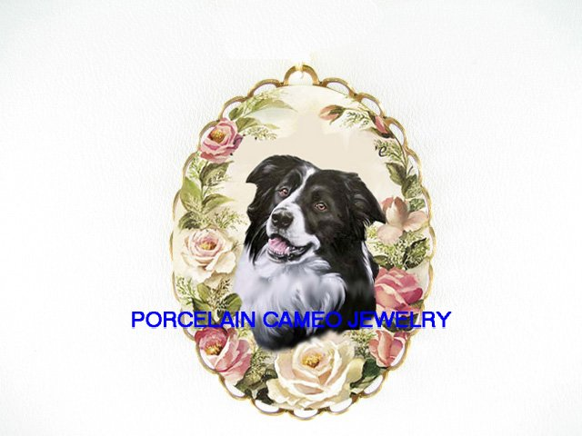 SMILE BORDER COLLIE DOG ROSE CAMEO PENDANT PIN BROOCH