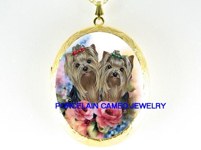 2 YORKSHIRE YORKIE DOG ROSE FORGET ME NOT CAMEO LOCKET