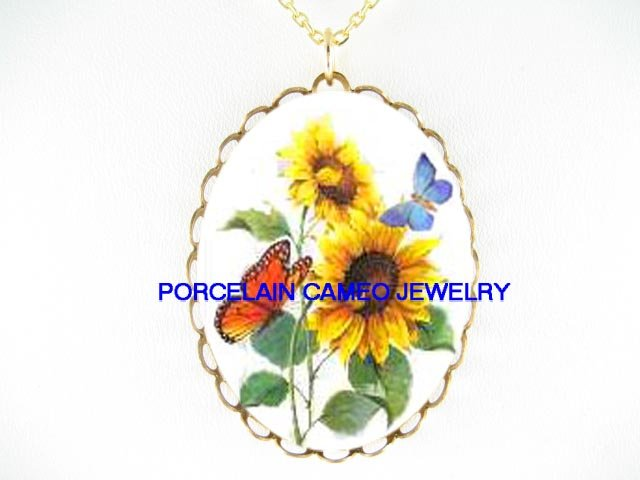 2 BUTTERFLY WITH SUNFLOWER  * CAMEO PORCELAIN NECKLACE