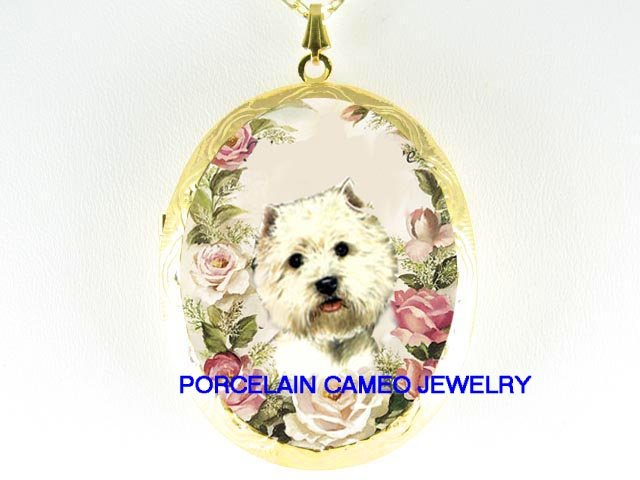 SMILE WESTIE TERRIER DOG ROSE CAMEO PORCELAIN NECKLACE